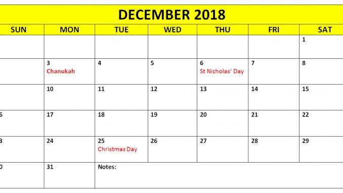 December 2018 Calendar with Holidays Printable