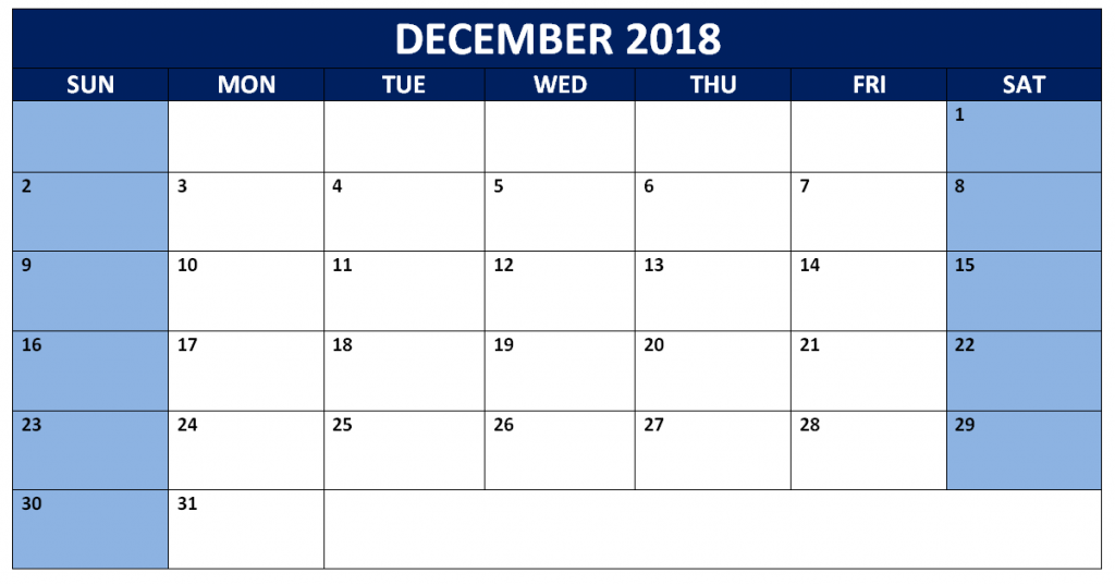 December 2018 Calendar with Holidays Template