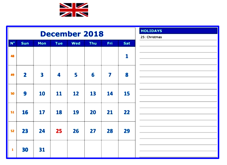 December 2018 Calendar with Holidays UK