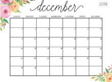 December 2018 Cute Calendar Printable