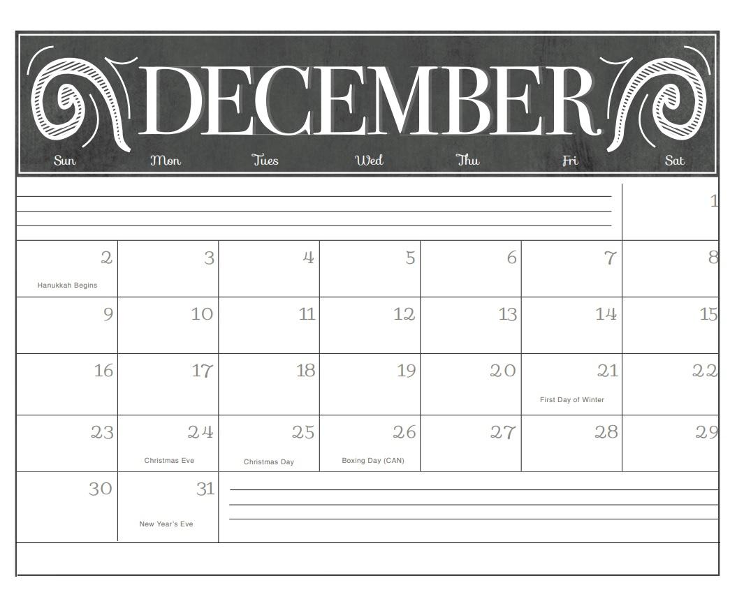 December 2018 Cute Calendar