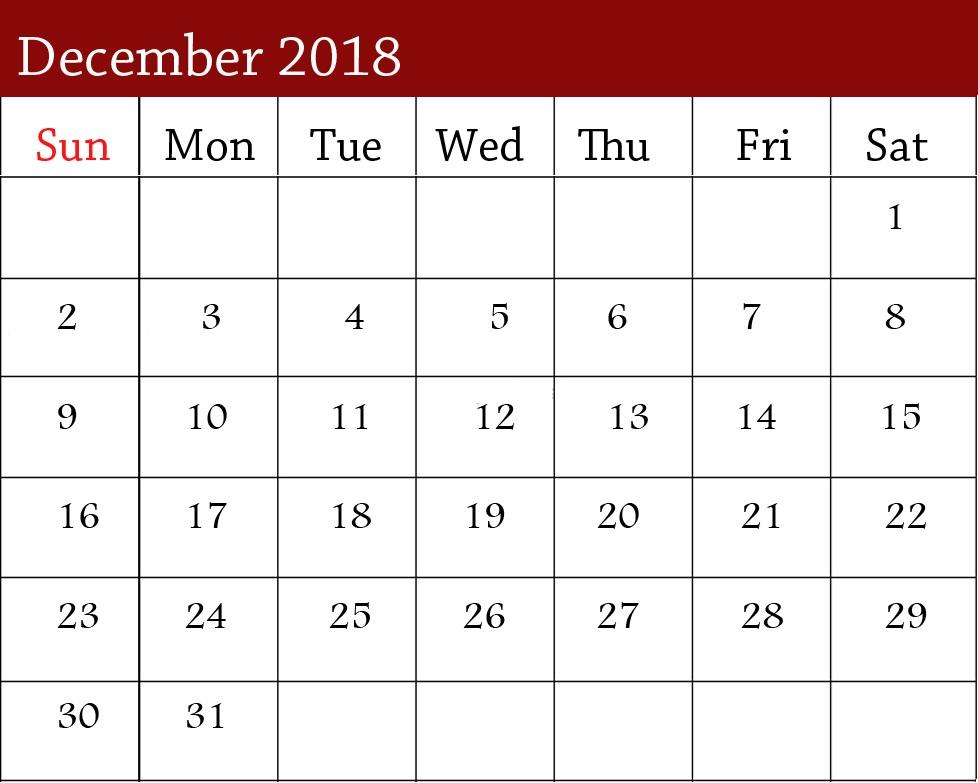 December 2018 Excel Calendar