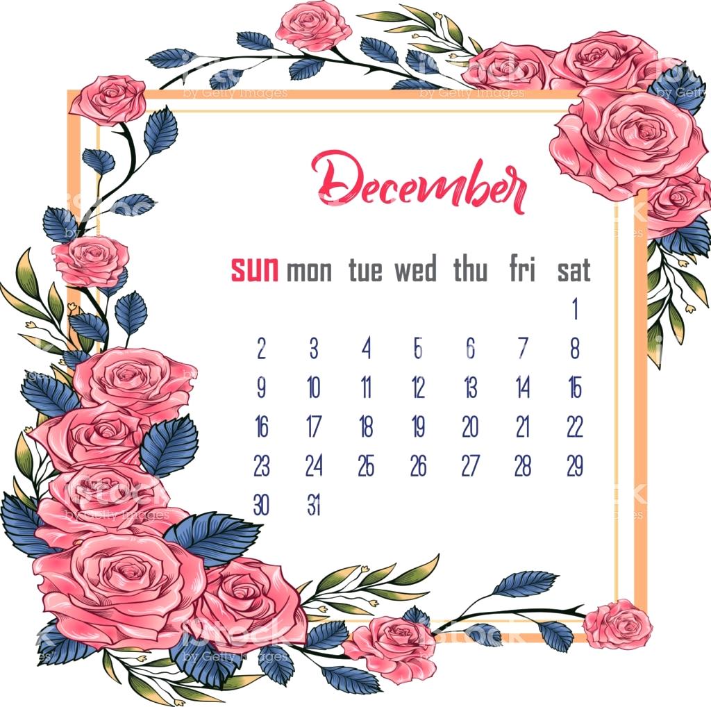 December 2018 Floral Cute Calendar