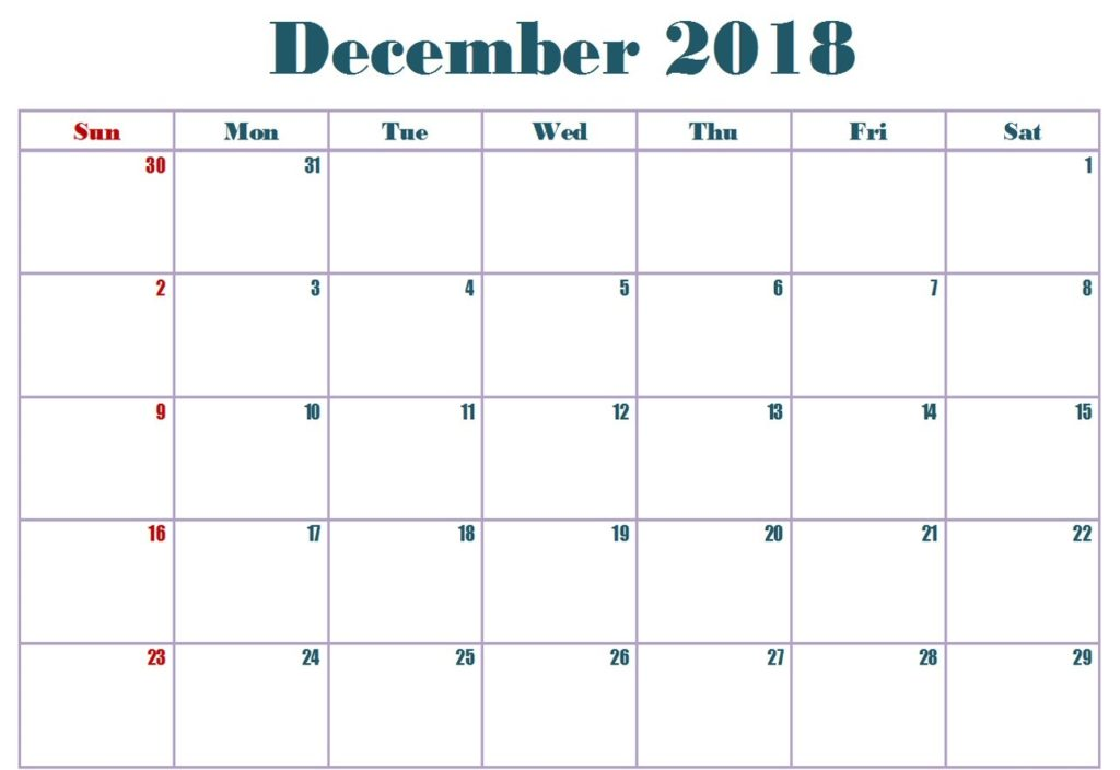 December 2018 Monthly Calendar Printable