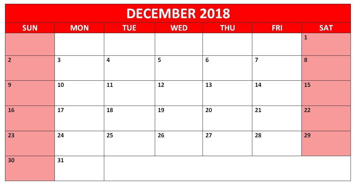 December Calendar 2018 Word