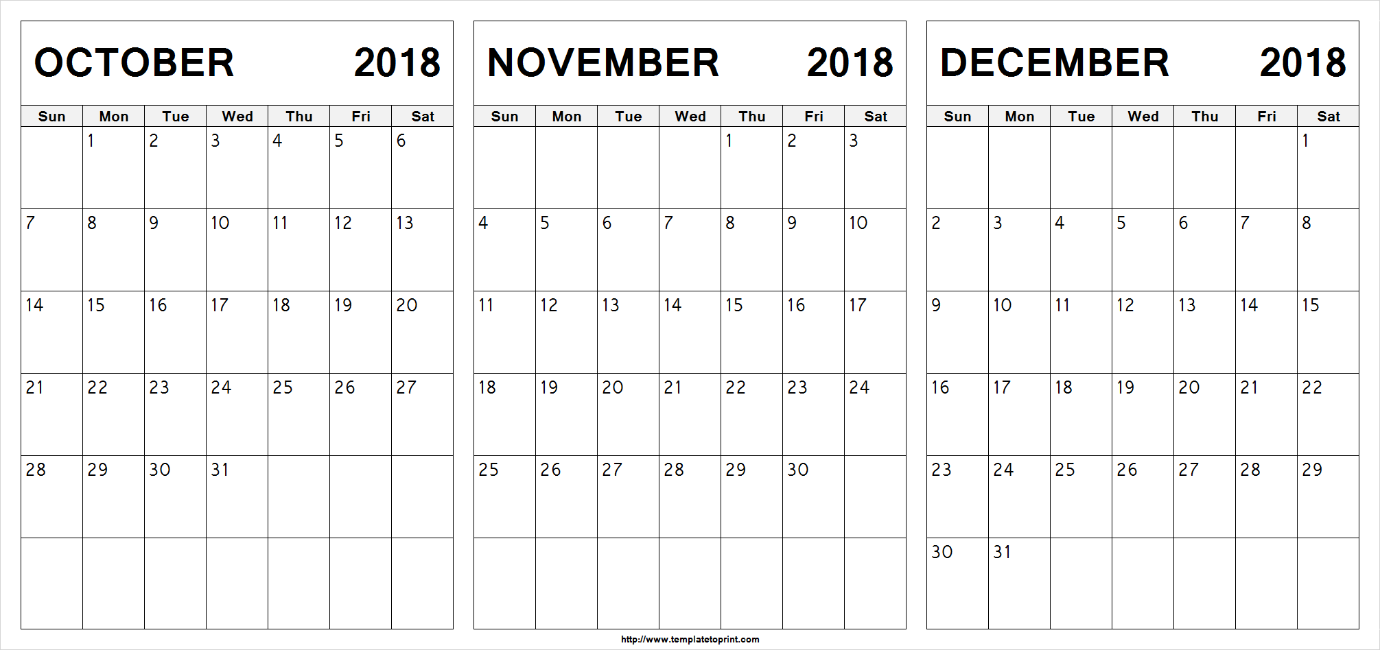 Edit Printable October November December 2018 Calendar