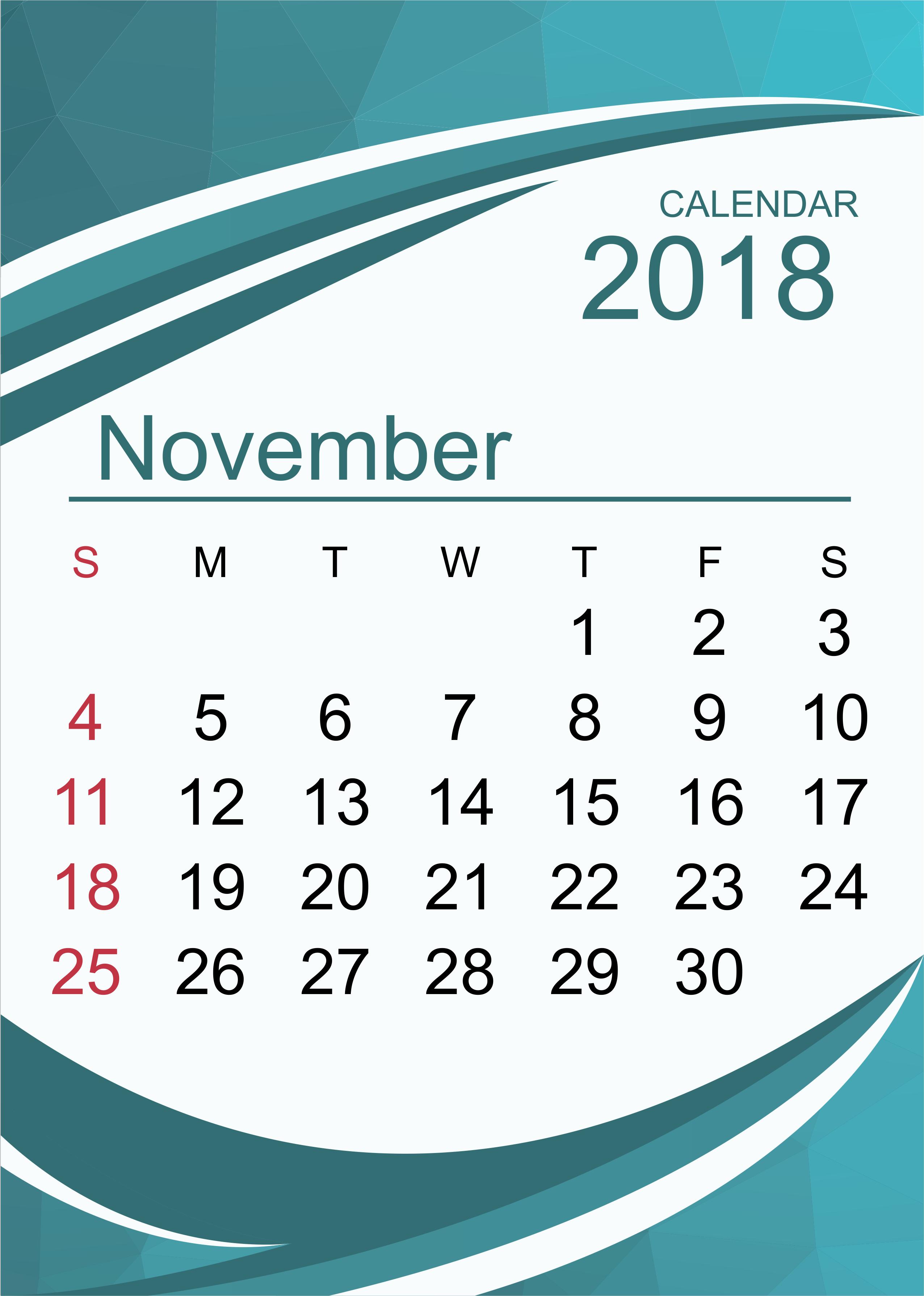 Editable Calendar November 2018