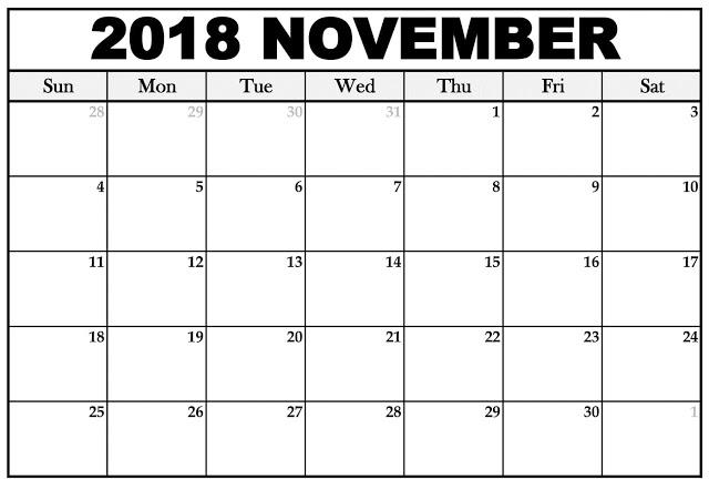 Editable November 2018 Calendar Blank Templates