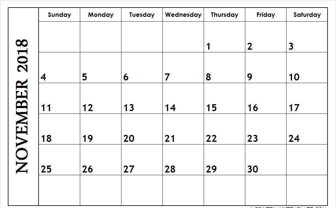 Editable November 2018 Calendar South Africa Template