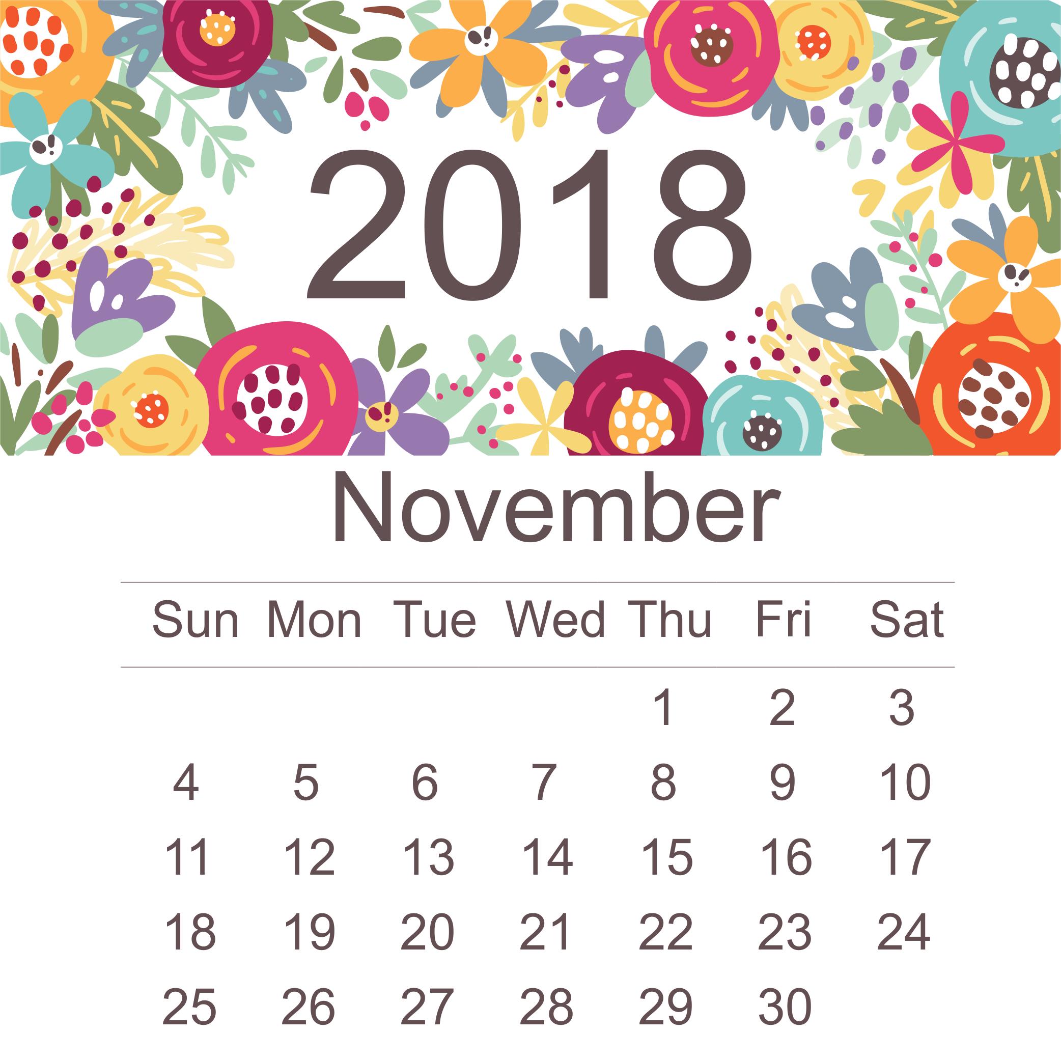 Editable November 2018 Monthly Calendar