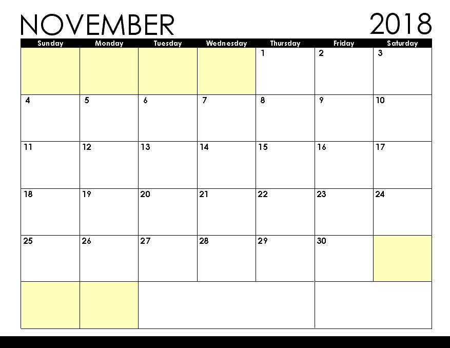 Free Calendar November 2018 Printable Template
