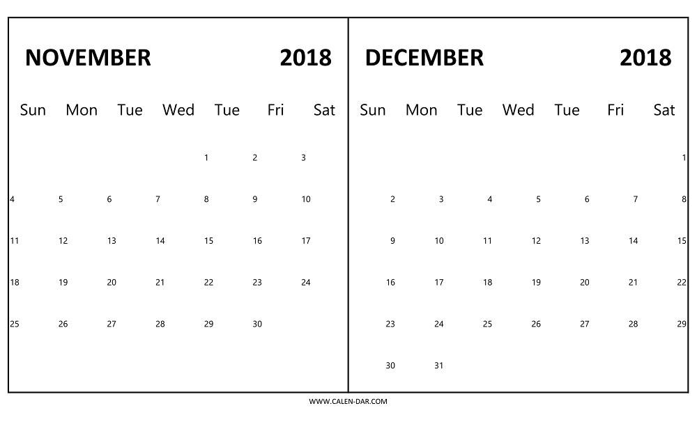 Free Calendar November and December 2018
