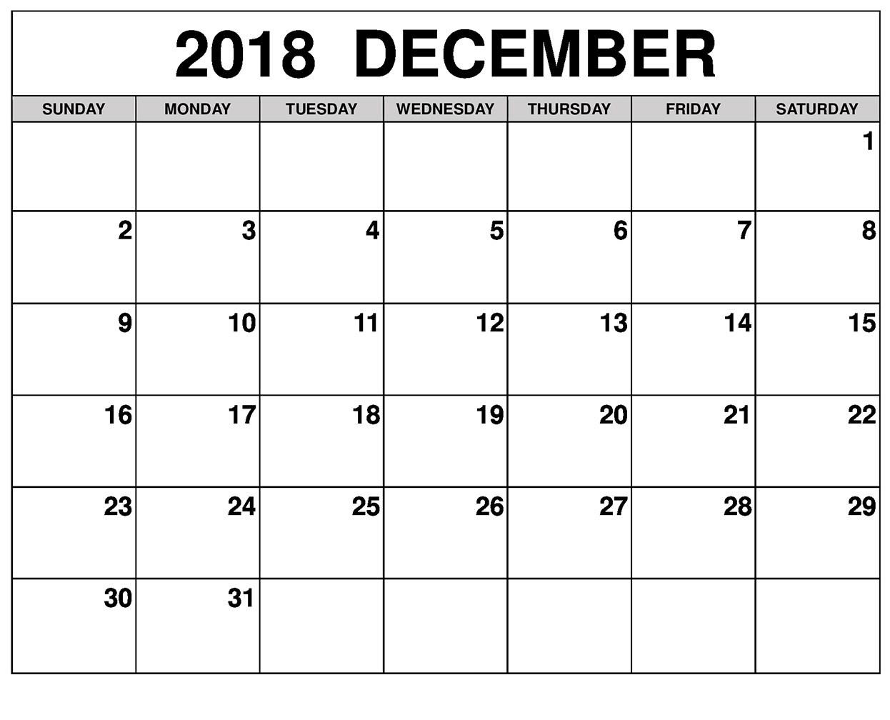 Free December 2018 Calendar Template