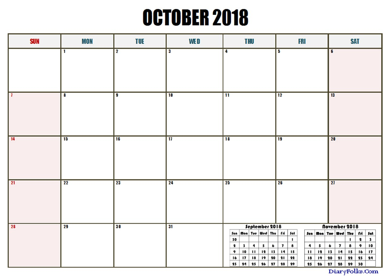 Free October 2018 Calendar Document