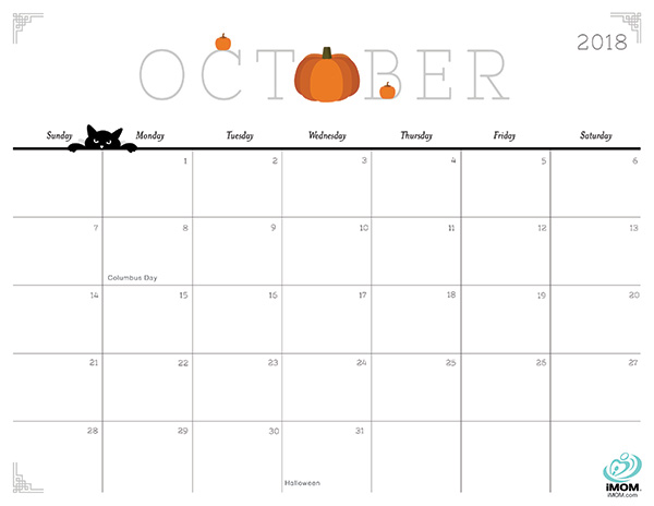 Free October 2018 Calendar Philippines