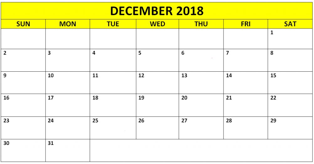 Free Printable December 2018 Calendar Page Landscape