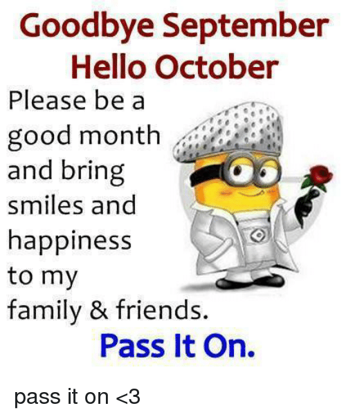 Goodbye September Hello October Funny Photos