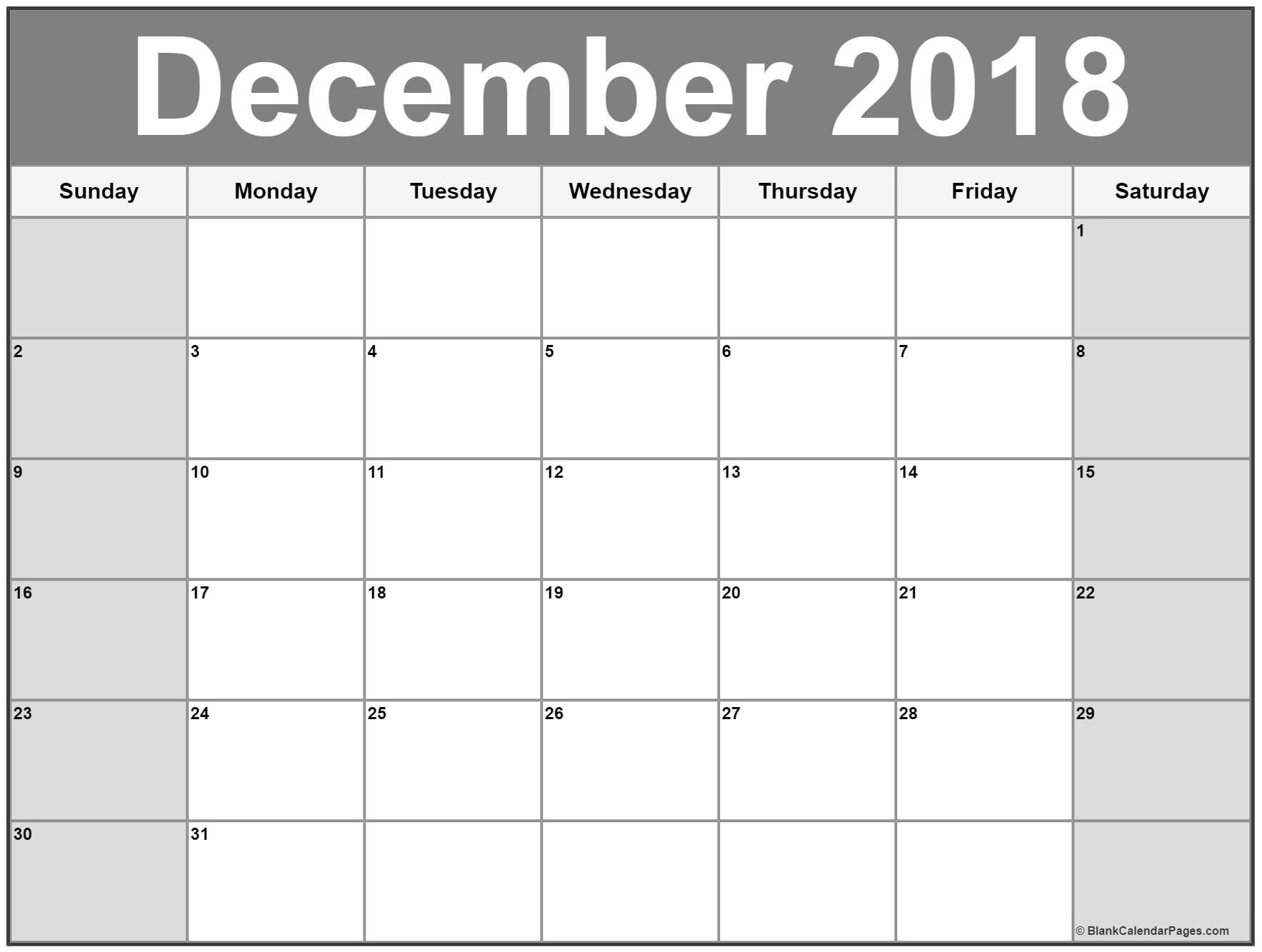 Monthly December 2018 Calendar Blank