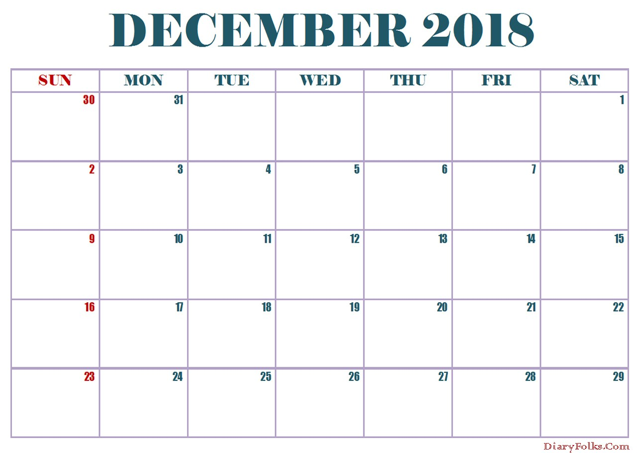 Monthly December 2018 Calendar Excel