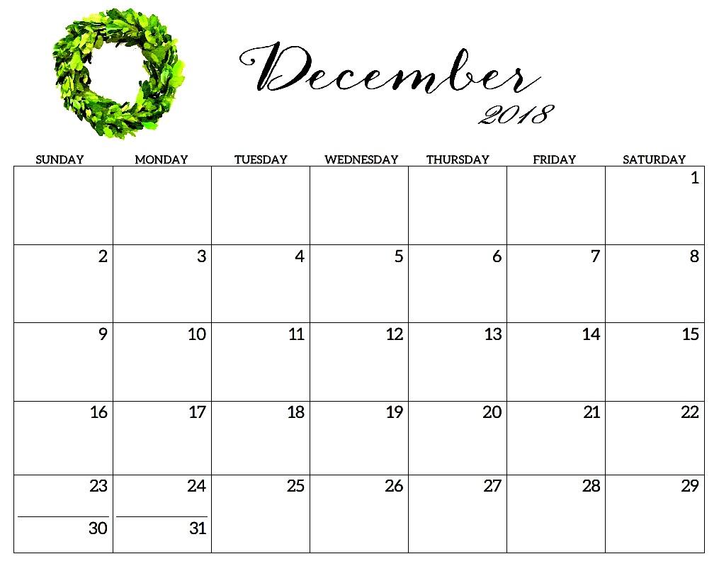 Monthly December 2018 Word Calendar