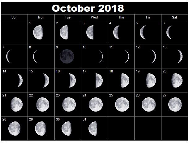 Monthly Moon Phases October 2018 Calendar Free Design