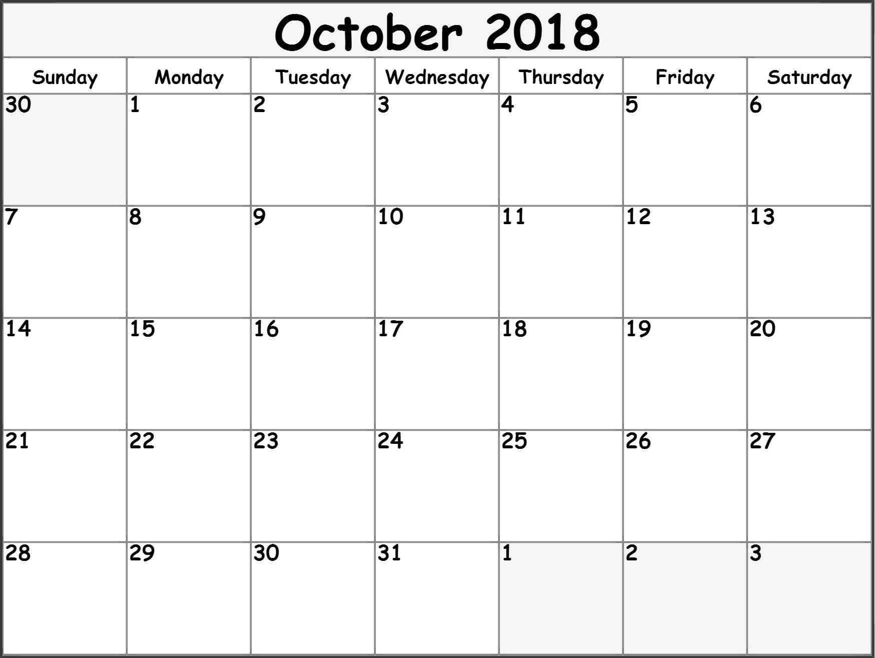 Monthly October 2018 Calendar Malaysia