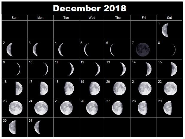 Moon Calendar December 2018 Page