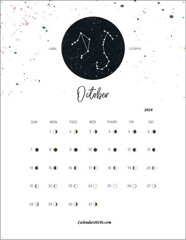 Moon Phases October 2018 Calendar