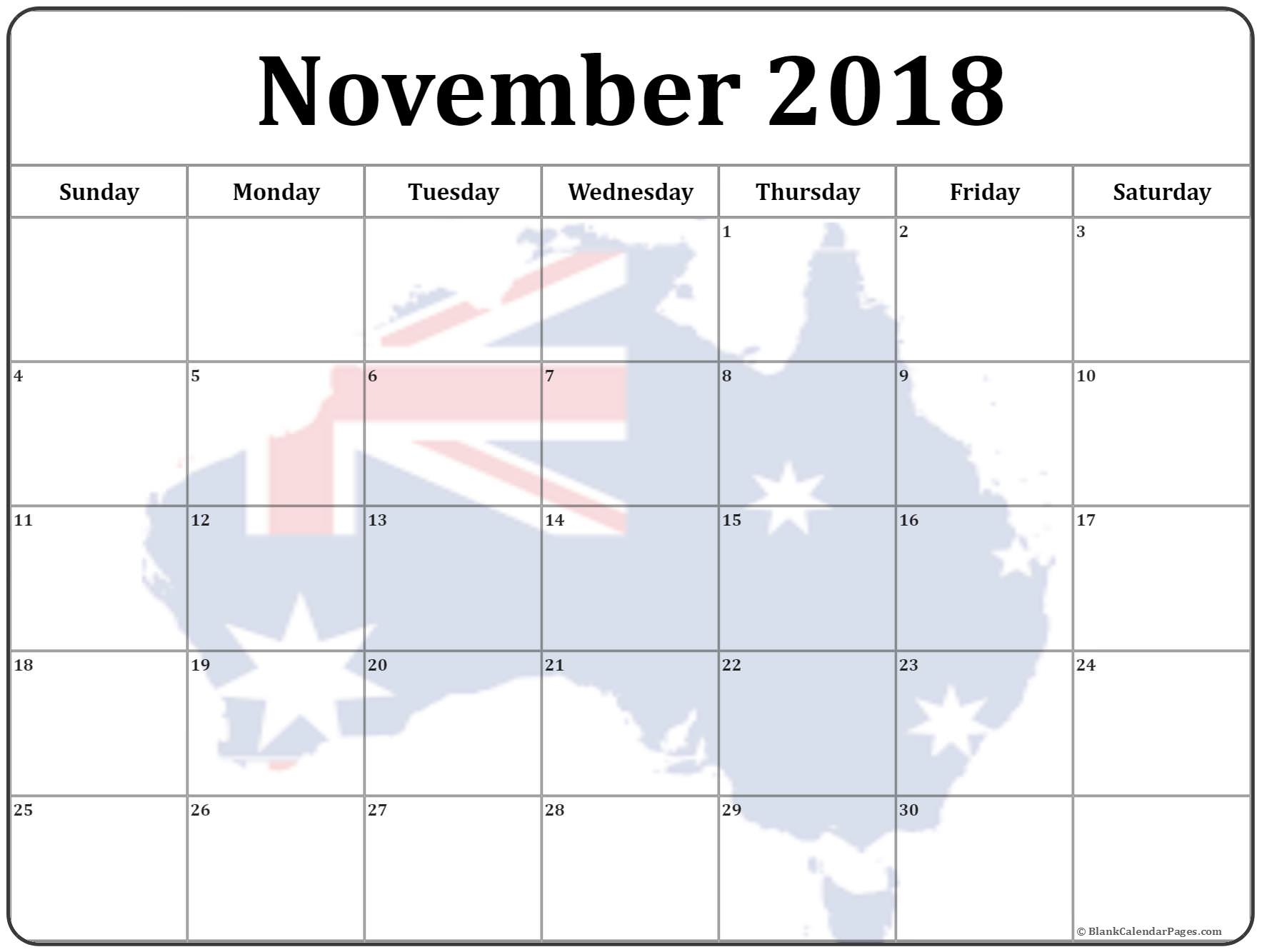 November 2018 Australia Calendar