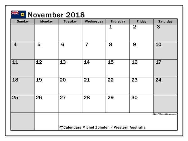 November 2018 Calendar Australia