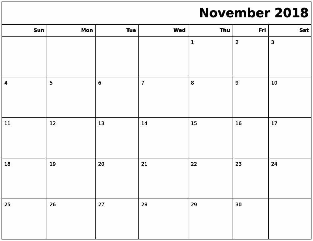 November 2018 Calendar Canada Excel Format