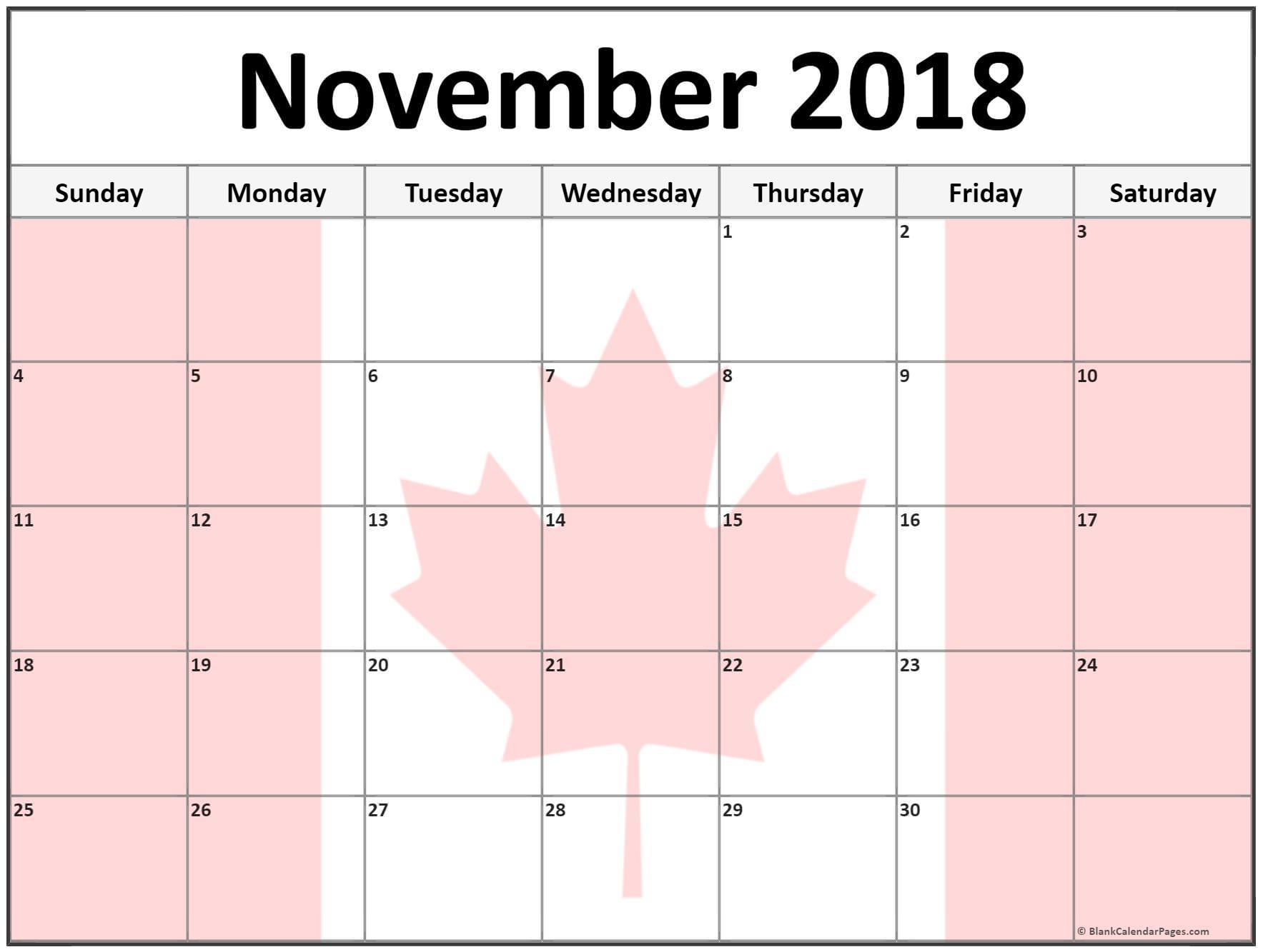 November 2018 Calendar Canada Flag