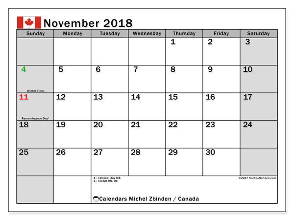 November 2018 Calendar Canada Printable