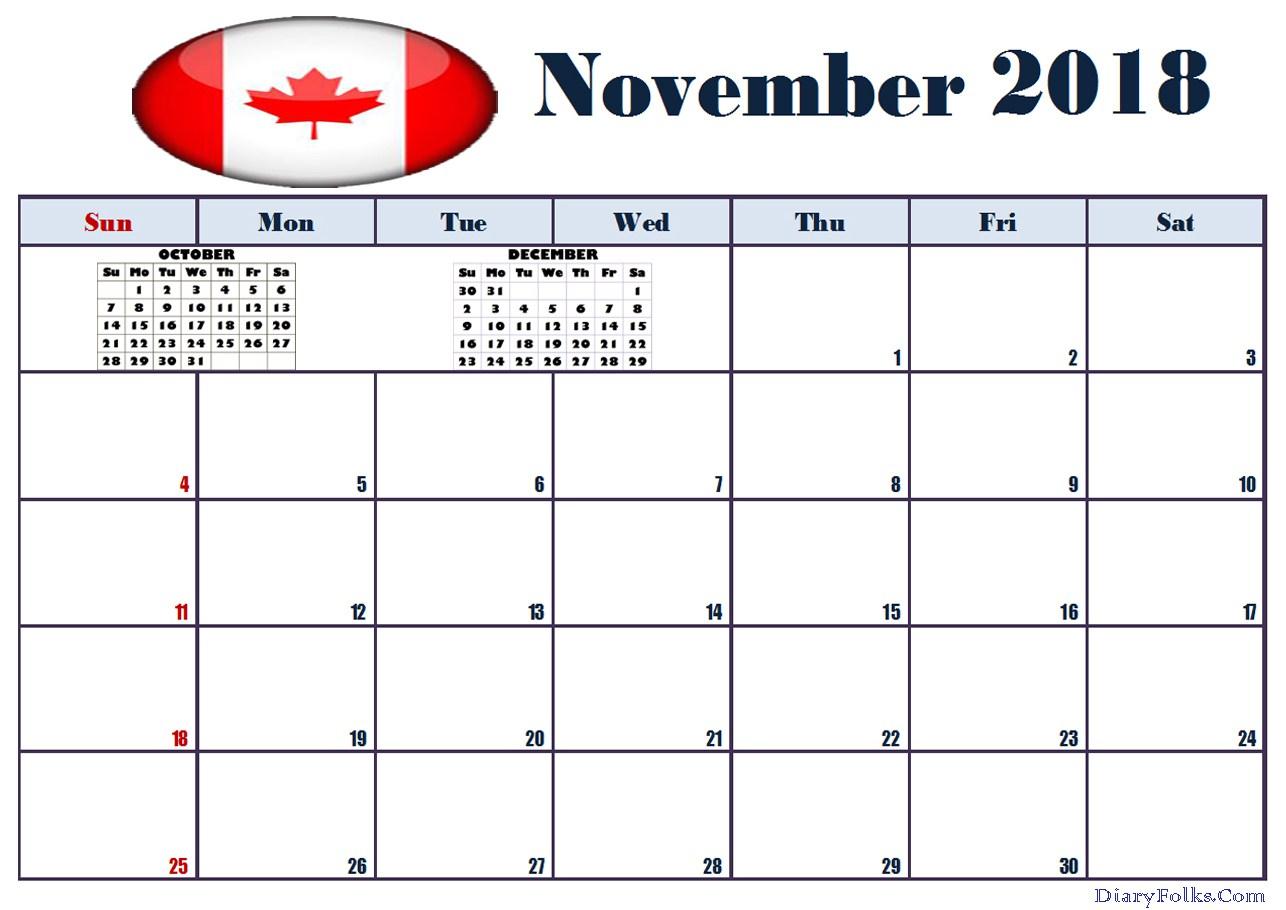 November 2018 Calendar Canada Template