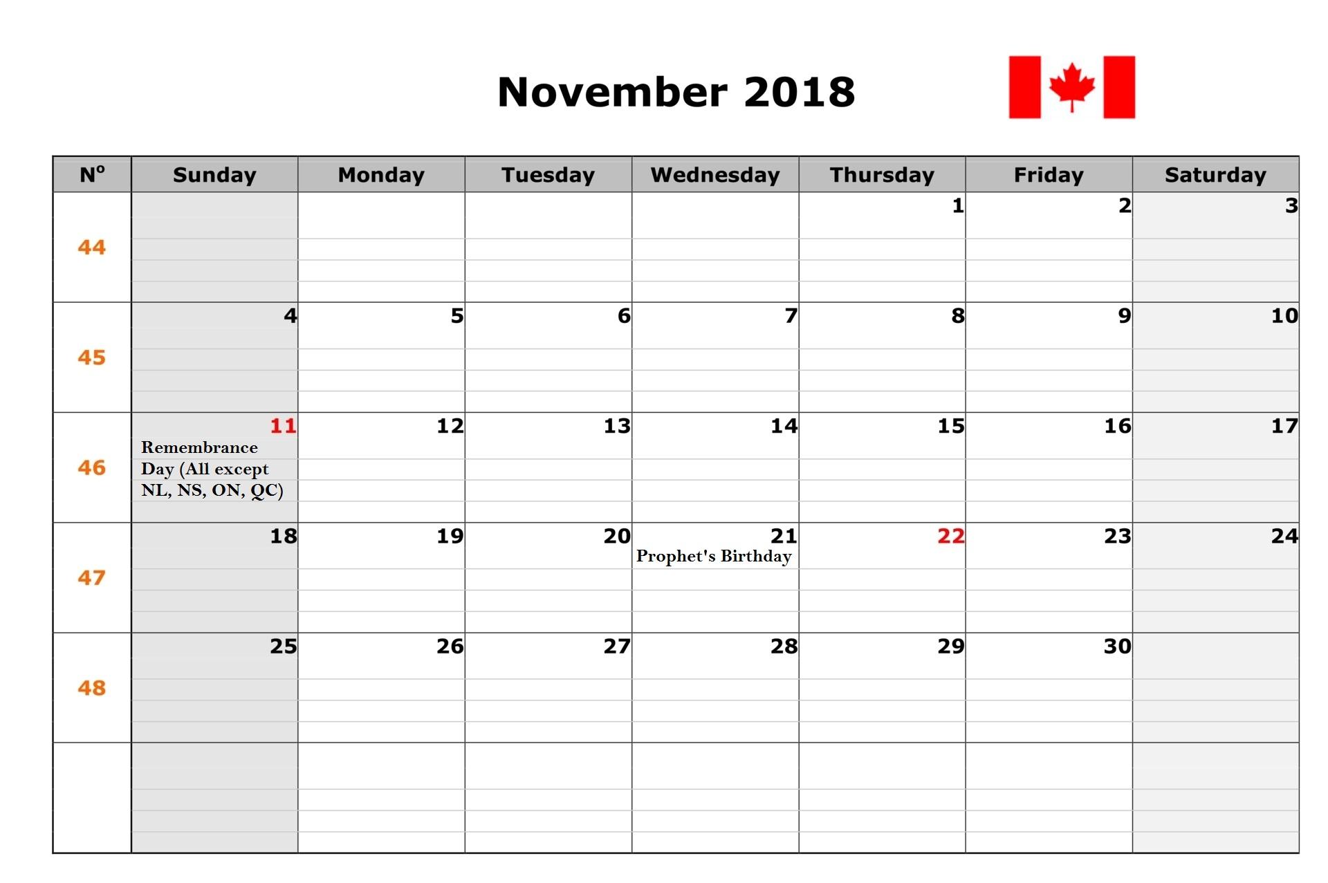November 2018 Calendar With Holidays Uk Monthly Calendar Template
