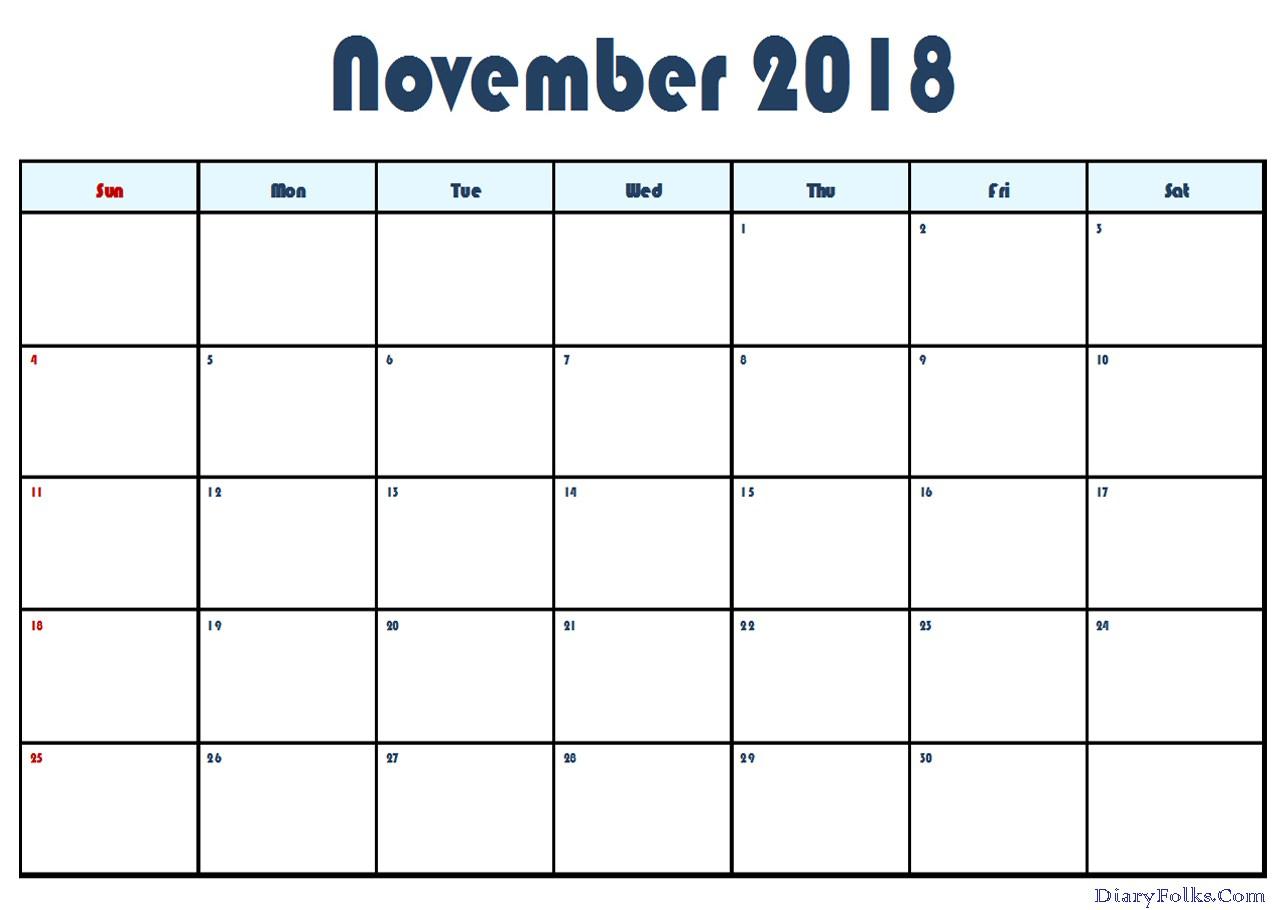 November 2018 Calendar Excel Printable