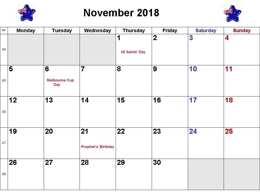 November 2018 Calendar For Australia
