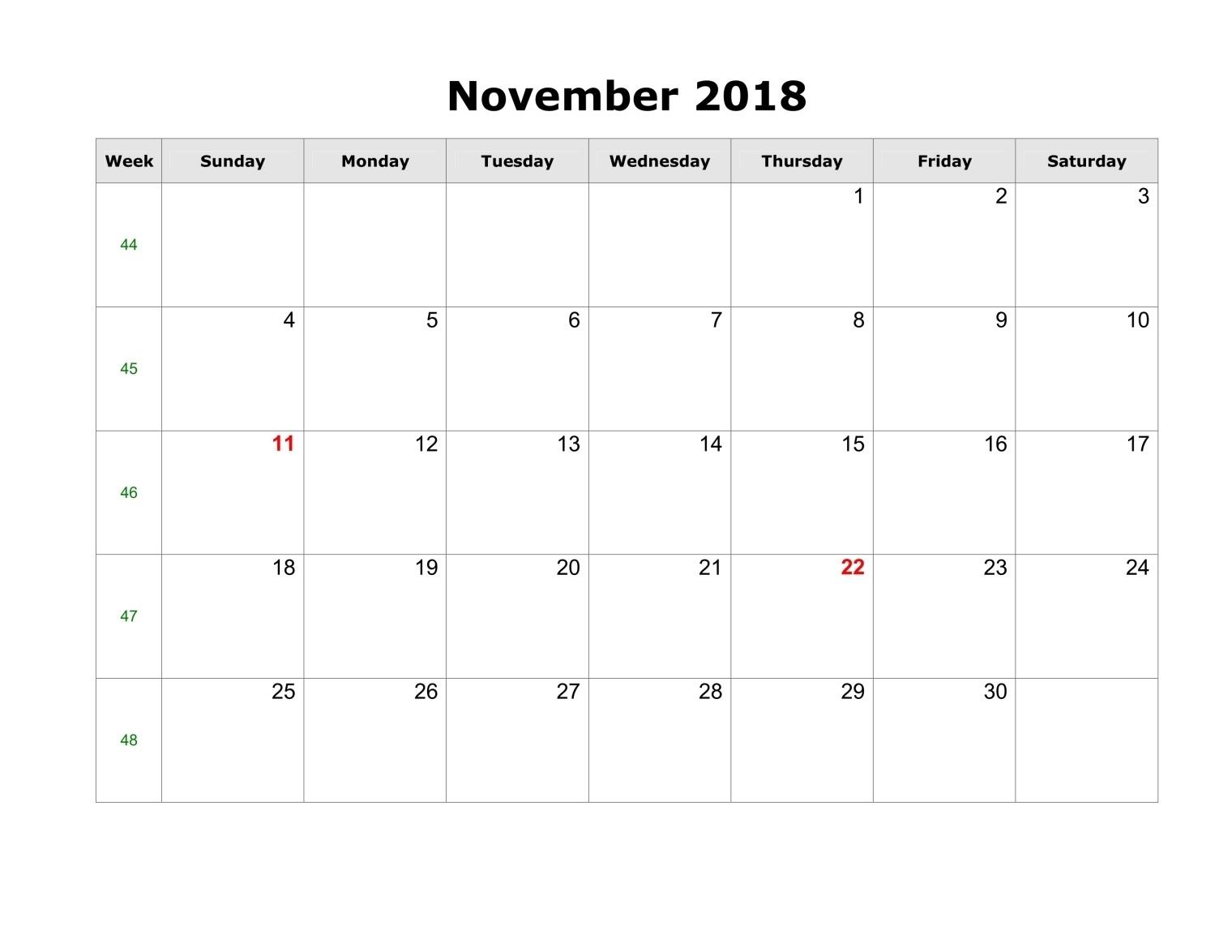 November 2018 Calendar Printable Blank Template