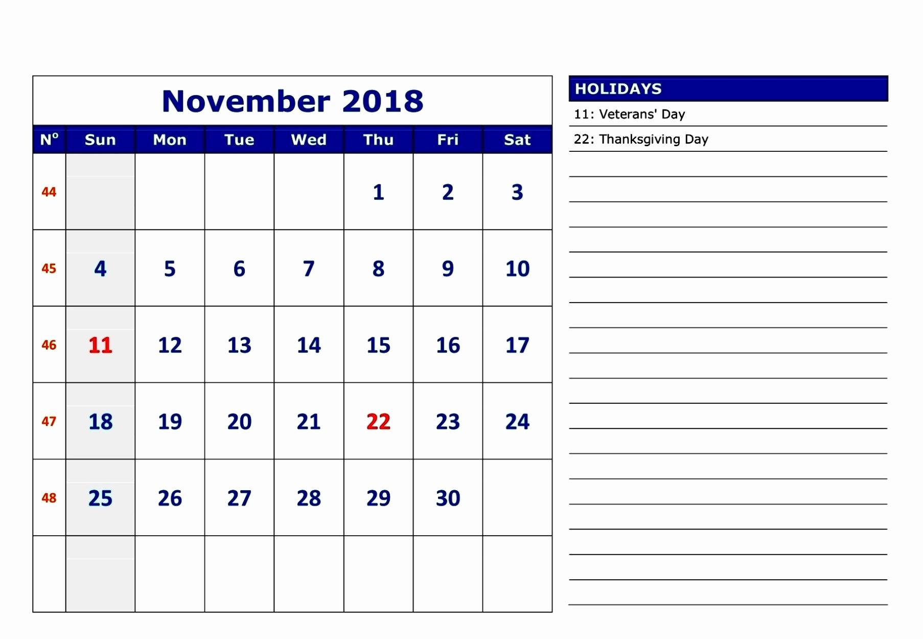 November 2018 Calendar Printable Template With Notes