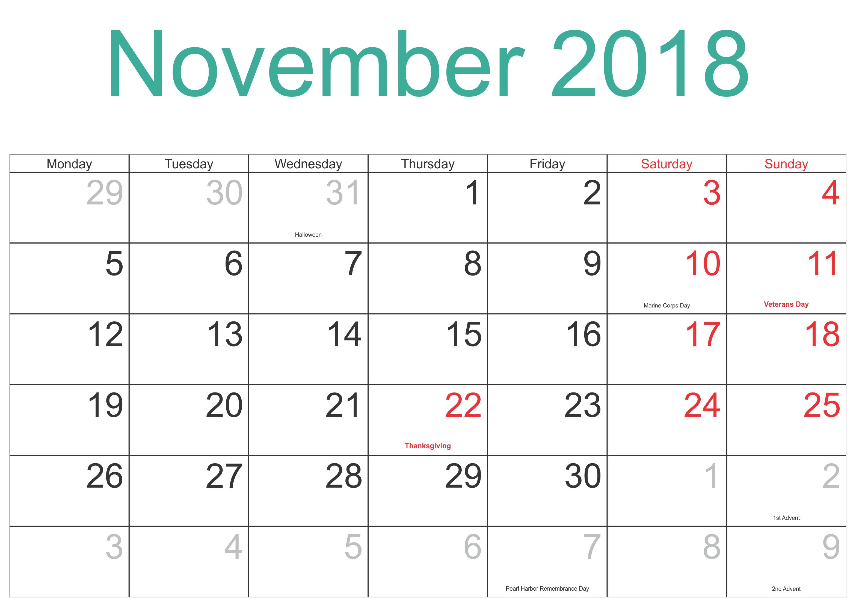November 2018 Calendar Printable Template with Holidays