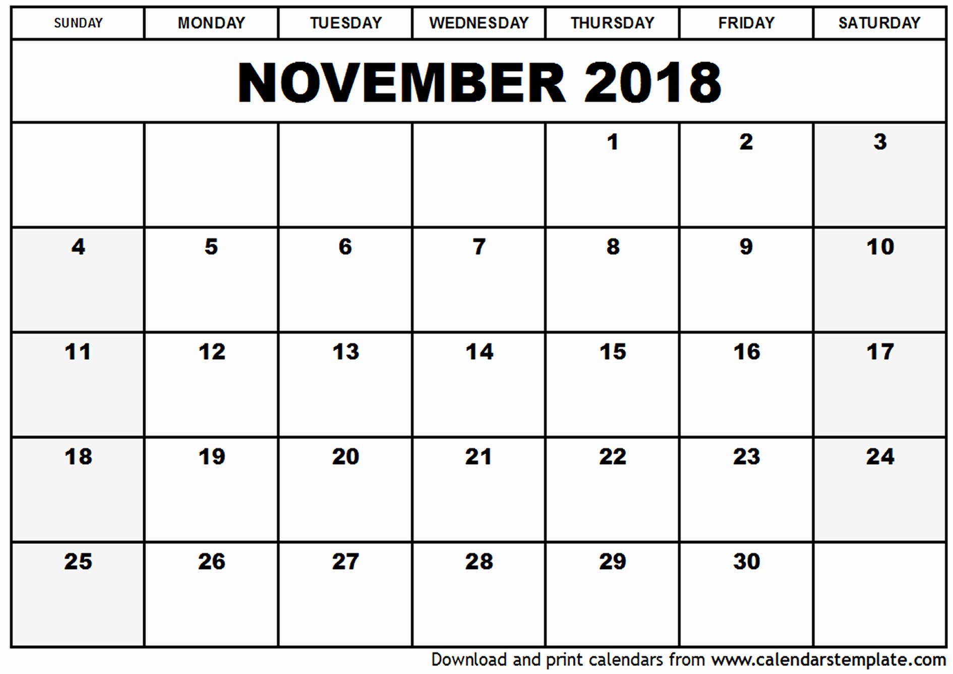 November 2018 Calendar Printable Template