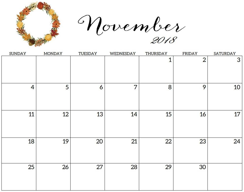 November 2018 Calendar Printable Word Template