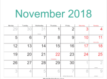 November 2018 Calendar Singapore With Holidays