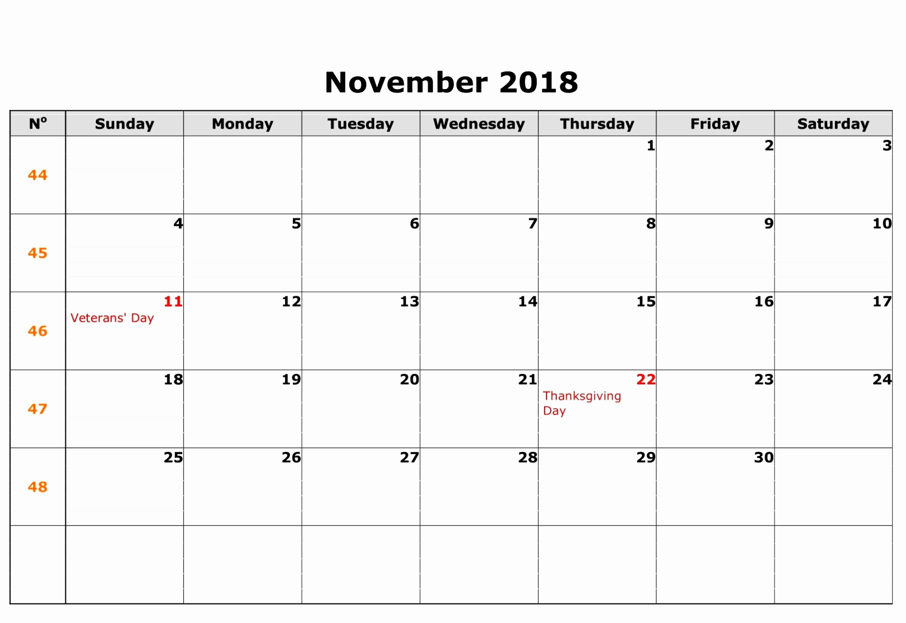 2018 November Calendar UK National Holidays