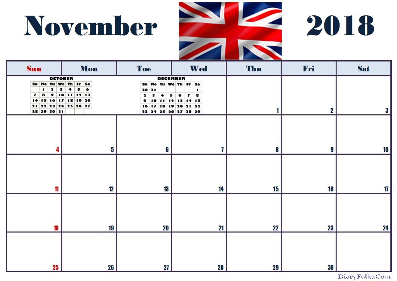 November 2018 Calendar UK Printable