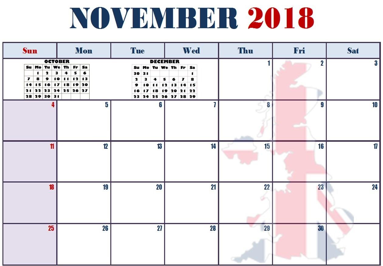November 2018 Calendar UK Template