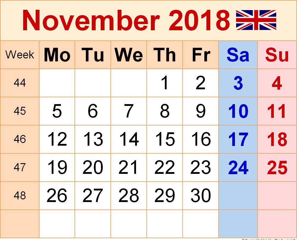 November 2018 Calendar UK