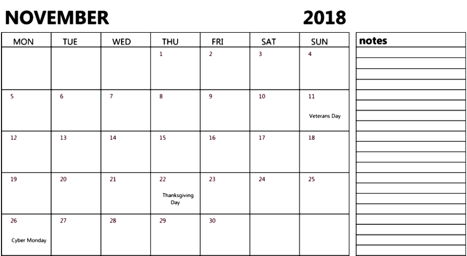 November 2018 Calendar USA Holidays With Notes