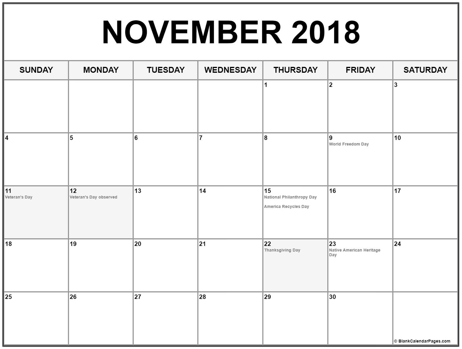 November 2018 Calendar USA Holidays