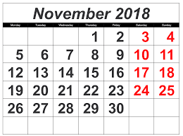 November 2018 Calendar United Kingdom